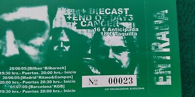 NAPAL DEATH  UNUSED TICKET Spain FREE SHIPPING WORLDWIDE WITH TRACKING 3