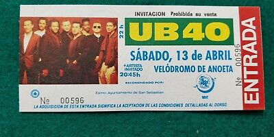 UB40  UNUSED TICKET  Spain FREE SHIPPING WORLDWIDE WITH TRACKING 2
