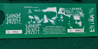 NAPAL DEATH  UNUSED TICKET Spain FREE SHIPPING WORLDWIDE WITH TRACKING 2