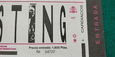 STING  1985 Police UNUSED TICKET  Spain FREE SHIPPING WORLDWIDE WITH TRACKING 3
