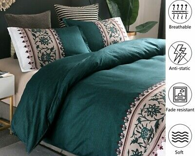 Green Duvet Quilt Cover Set Queen/King/Double Size Bed New Floral Doona Covers 2