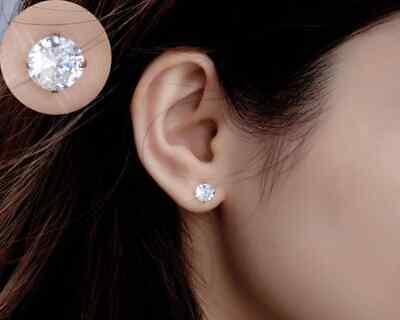 Women Men Genuine 925 Solid Sterling Silver Cubic Zirconia Round Stud Earrings 7