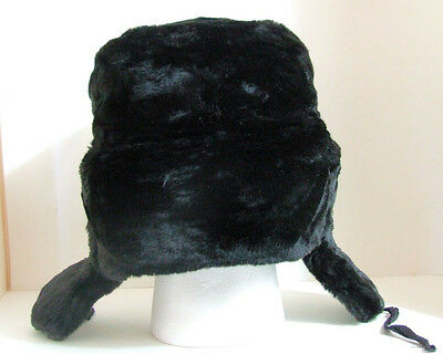 da34ea6e16e7c ... Authentic Russian Military Faux Fur Black Ushanka Hat Made in Russia 8