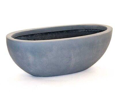 Pflanzkübel HENDRIK Pflanzschale Übertopf Vase grau Metallschale Blumenschale