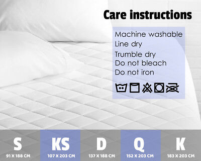 Aus Made Fitted Cotton Cover Quilted Mattress Protector Topper Underlay ALL SIZE 11