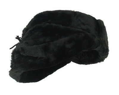 e275e740a77e7 ... Authentic Russian Military Faux Fur Black Ushanka Hat Made in Russia 2