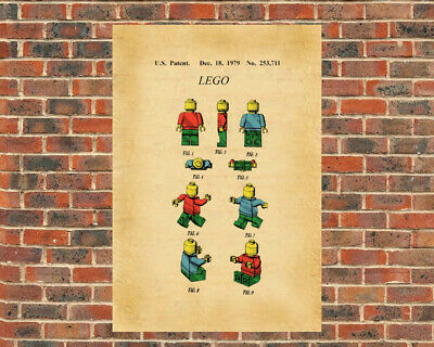 Lego Toy Skeleton Mini Figurine Patent Print Colorized Art Drawing Poster 18X24