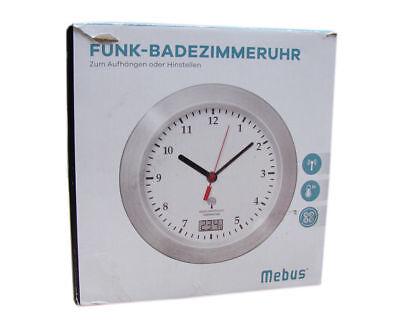 Mebus Funk Wanduhr Saugnapfe Thermometer Uhr 17 Cm Funkuhr