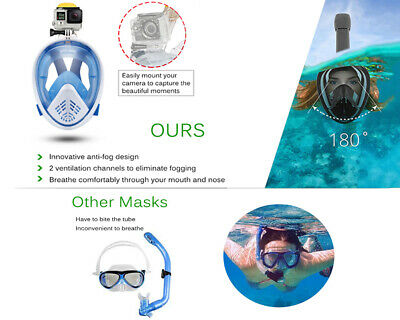 Anti Fog Full Face Snorkel Mask Swimming Dive Scuba Goggles Adult Kids For GoPro 5