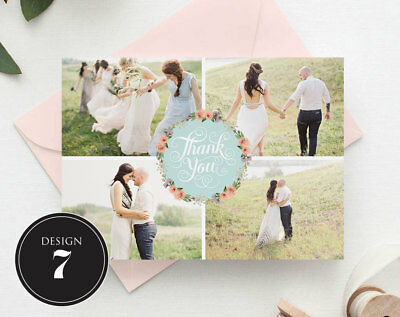 Personalised Wedding Thank You Cards Free Envelopes Your Photos Rustic 8