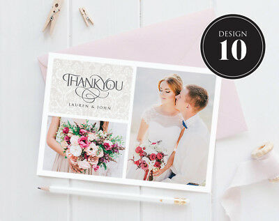 Personalised Wedding Thank You Cards Free Envelopes Your Photos Rustic 10