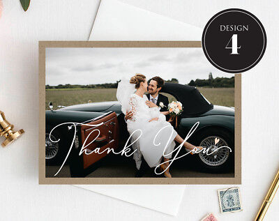 Personalised Wedding Thank You Cards Free Envelopes Your Photos Rustic 5