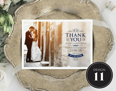 Personalised Wedding Thank You Cards Free Envelopes Your Photos Rustic 11