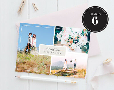 Personalised Wedding Thank You Cards Free Envelopes Your Photos Rustic 7