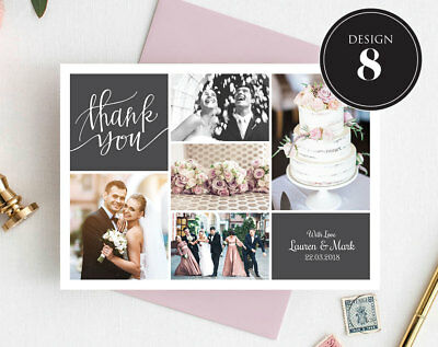 Personalised Wedding Thank You Cards Free Envelopes Your Photos Rustic 9