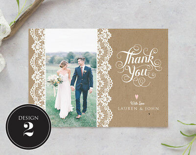 Personalised Wedding Thank You Cards Free Envelopes Your Photos Rustic 4