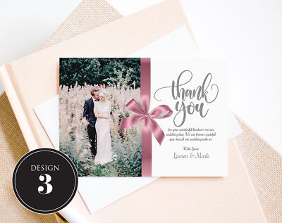 Personalised Wedding Thank You Cards Free Envelopes Your Photos Rustic 2