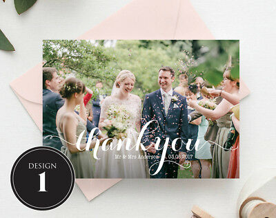 Personalised Wedding Thank You Cards Free Envelopes Your Photos Rustic 3