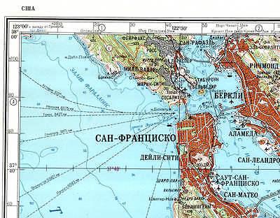 RUSSIAN SOVIET MILITARY Topographic Maps SAN FRANCISCO USA - Military topographic maps