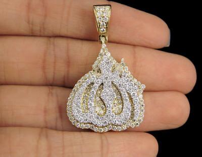 "Chain Real Diamond 10K White Gold Finish Islamic Allah Mini Pendant Charm 1.15/"""