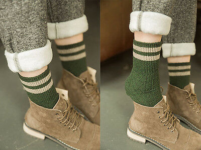 Ladies Soft Aran Style Cable Knit Woollen Ankle Boot Socks With Stripes