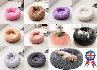 Large Luxury Shag Warm Fluffy Pet Bed Dog Puppy Kitten Fur Donut Cushion Mat UK 3