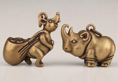 Old Bronze Hand-Cast Rhinoceros Squirrel Statue Pendant With Auspicious Gift 3