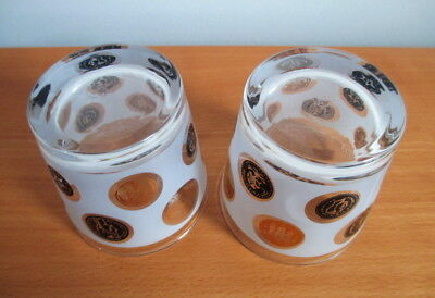 """Libbey Old Coins Set 2 Whiskey Tumblers 3 1/4"""" Frosted Black Gold MCM USA 3"""