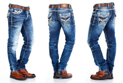 Amica MEGASTYL Herren M/änner Jeans Basic Streetwear Dicke N/ähte Regular Fit