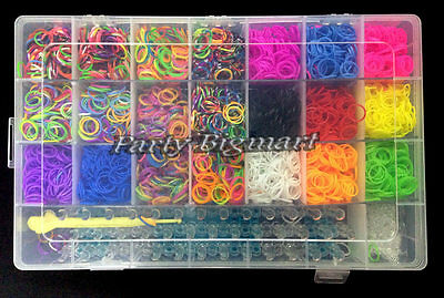 Large Rainbow Loom Band case kit 5400 Bands Board Loom hooks clips+Free charms 5
