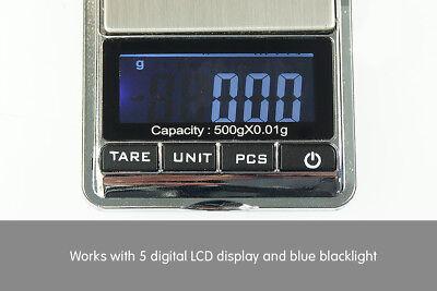 New 500g 0.01 DIGITAL POCKET SCALES JEWELLERY ELECTRONIC 10 milligram micro gm 4