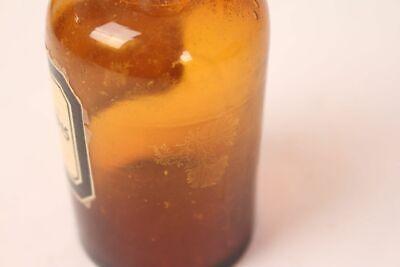 Apotheker Flasche Medizin Glas braun Nylanders Reagens antik Deckelflasche 12
