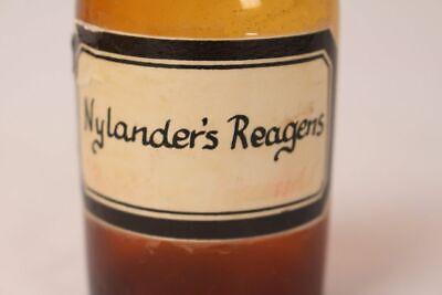 Apotheker Flasche Medizin Glas braun Nylanders Reagens antik Deckelflasche 2