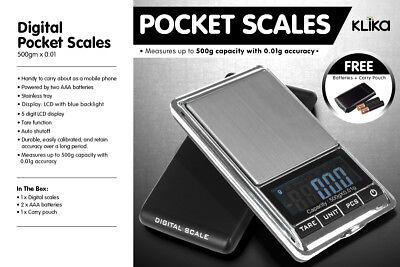 New 500g 0.01 DIGITAL POCKET SCALES JEWELLERY ELECTRONIC 10 milligram micro gm 2