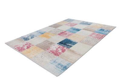 Teppich Bunt Kasten Quadrat Schachbrett Beige Blau Rot Gelb 120x170cm
