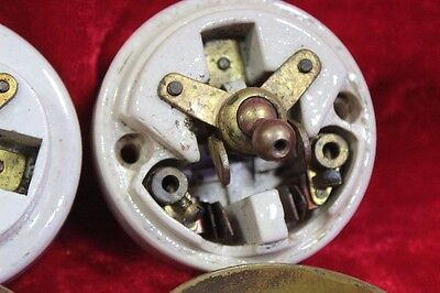 2 Pc. Old Vintage Brass Electric Switch Vitreous Brand Made in England PM-11 5