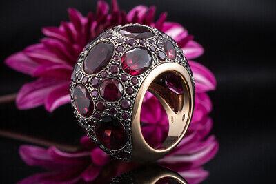 Brillant Zirkon weiß Rubin Granat rot Damen Ring Gold 18K GP 750er vergoldet