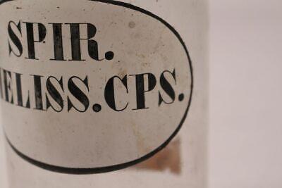 Apotheker Flasche Medizin Glas spir. Meliss. Cps. antik Deckelflasche Gefäß 20cm 3
