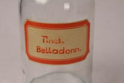 Apotheker Flasche Medizin Glas Tinct. Belladonn. antik Deckelflasche Gefäß 20cm 2