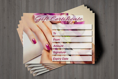 Gift Voucher Beauty Nail Salon Blank Card Manicure Pedicure Present A7 + Env. 7