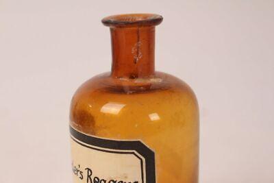 Apotheker Flasche Medizin Glas braun Nylanders Reagens antik Deckelflasche 5