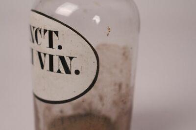 Apotheker Flasche Medizin Glas Tinct. Rhei Vin. antik Deckelflasche Gefäß 14 cm 4
