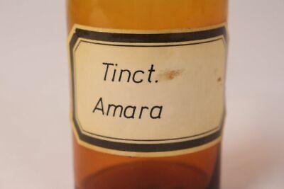 Apotheker Flasche Medizin Glas Tinct. Amara antik Deckelflasche 15 cm Gefäß 2