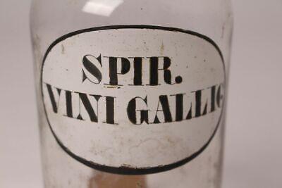Apotheker Arzt Medizin Flasche Spir. Vini Gallic. Deckelflasche antik Emaille 2