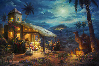 Thomas Kinkade Christmas.Thomas Kinkade Christmas The Nativity 24 X 36 Le E E Canvas Framed