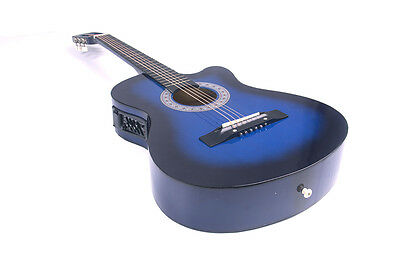 Electric Acoustic Guitar Cutaway Design With Guitar Case, Strap  Blue New 7
