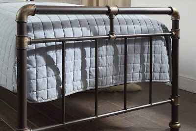 Vintage Industrial Scaffold Style Metal Bed Frame Single / Double / King Size 7