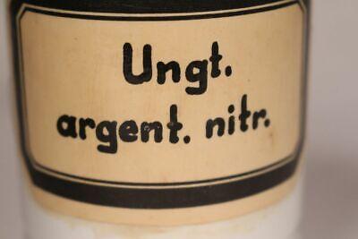 Apotheker Arzt Medizin Porzellan Dose Flasche Ungt argent nitr antik Deckel 17cm 8