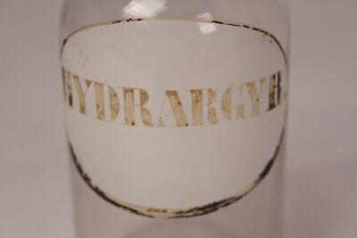 Apotheker Flasche Medizin Arznei Glas Hydrargyr. antik Deckelflasche Emaille 2