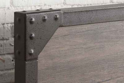 Modern Vintage Industrial Style Rustic Wood & Metal Bed Frame Double King Size 4